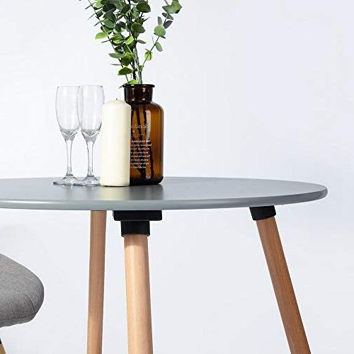 HOMY Round Table Mid Century Modern Solid Wood Table Desk Natural Legs and