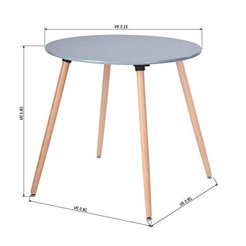 HOMY CASA Dining Round Table Century Modern Solid Wood Table Desk with Natural Wooden Legs and