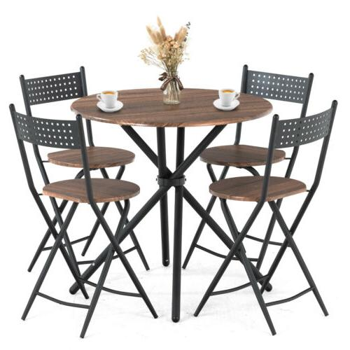 5 Dining Table Set 4 Foldable Chairs Top Kitchen