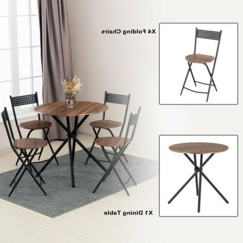 5 Piece Dining Foldable Chairs Kitchen