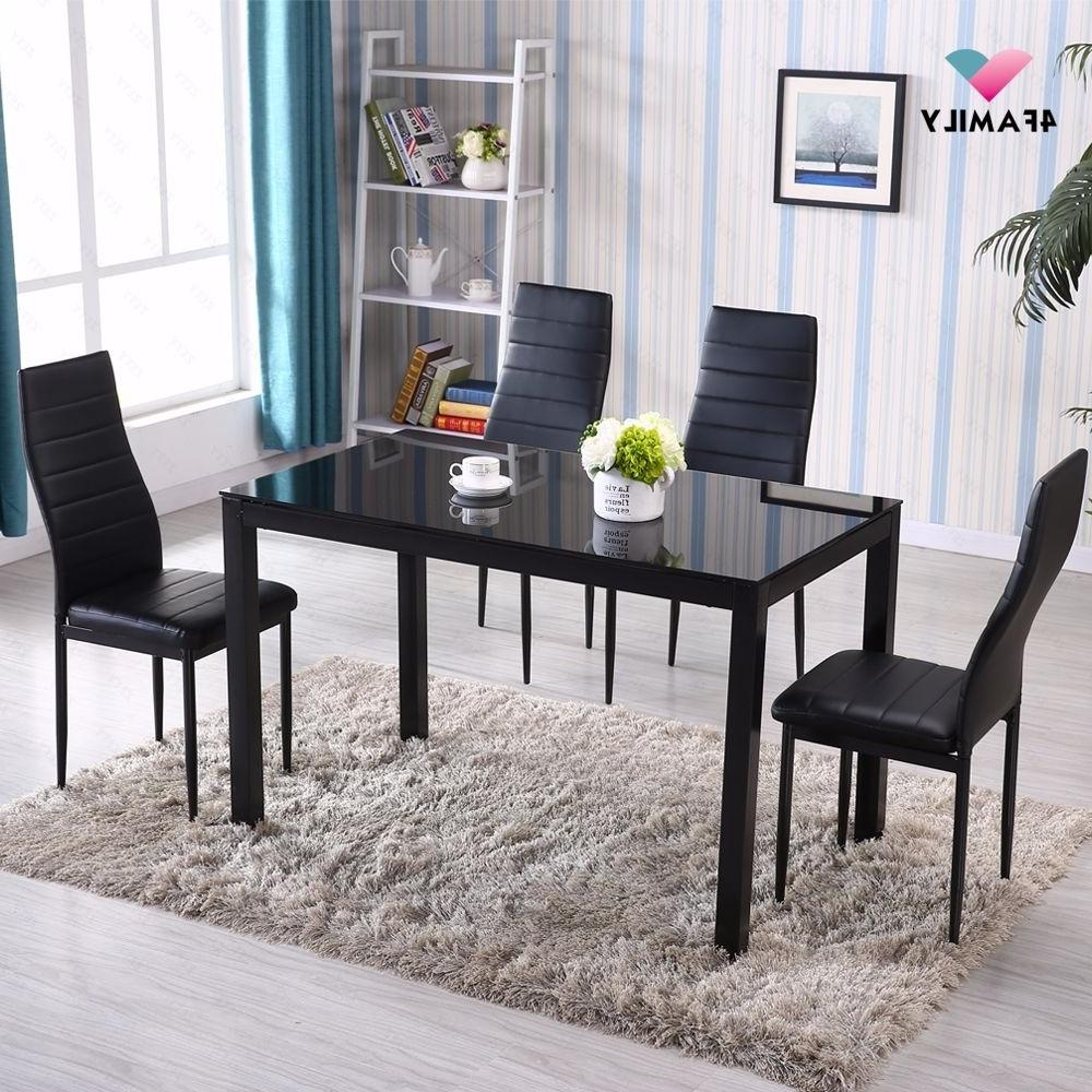 5 Set 4 Chairs Metal Room Furniture