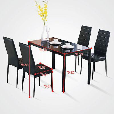 5 Piece Dining Table Set 4 Chairs Glass ...