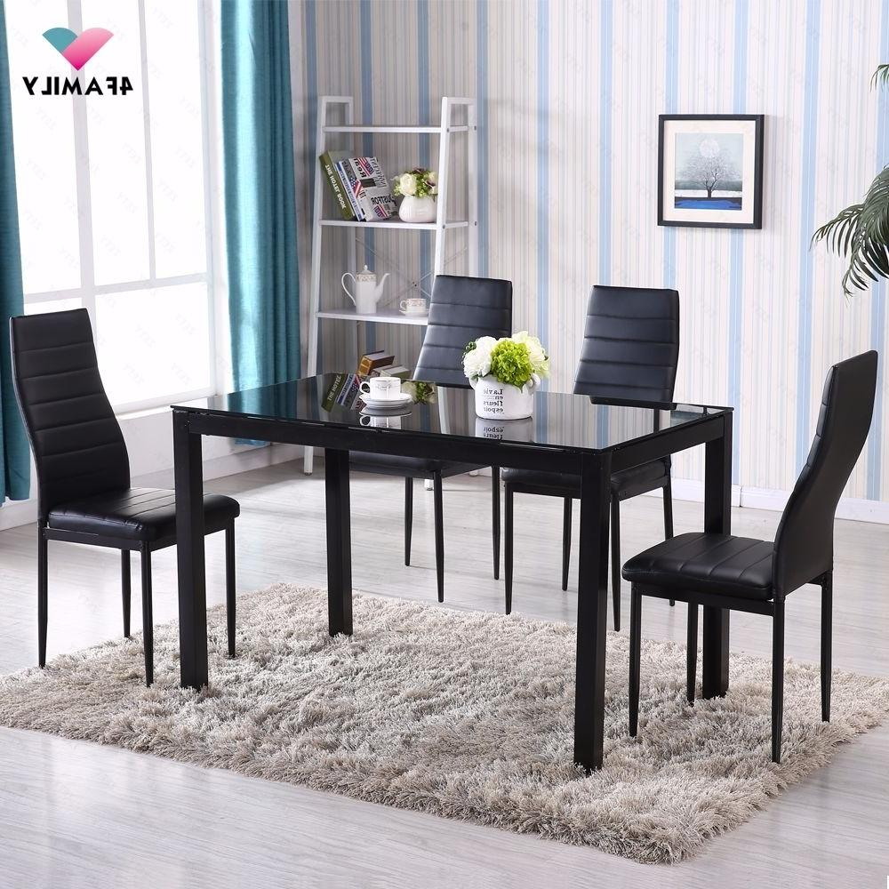 5 Dining Set 4 Chairs Metal Kitchen Room Furniture