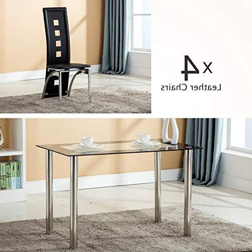 Mecor Piece Table Glass Table Leather Chairs Kitchen