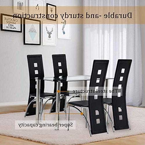 Mecor Piece Table Table with 4 Chairs Set,Black