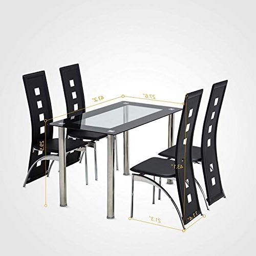 Mecor Piece Dining Table Set, Table Chairs Dinette Set,Black