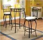 Dining Table Set for 2 Two Chair Glass Top Steel Pub Table C