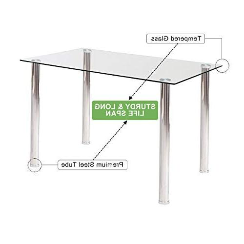 Tangkula 5 PCS Table Set Modern Tempered Glass and PVC Leather w/4 Dining Room Kitchen Furniture