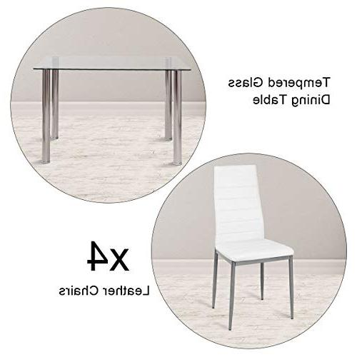 Tangkula 5 PCS Table Tempered Leather Dining