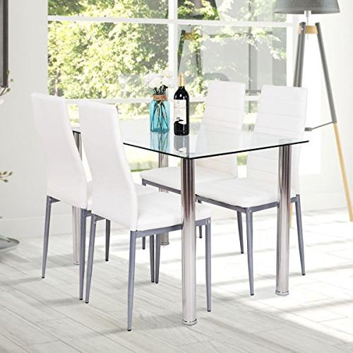Tangkula PCS Table Glass Top and Leather Dining