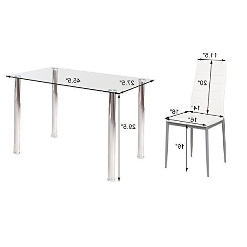 Tangkula Table Modern Tempered Glass and Leather Chairs Dining