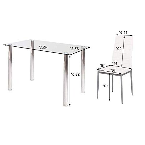 Tangkula PCS Dining Table Modern Leather w/4 Chairs Dining Room Kitchen