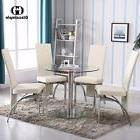5 Piece Dining Table Set Round Glass 4 Chairs Kitchen Room B
