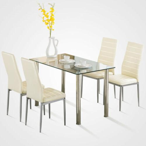 5 Piece Table Set For Chairs Glass Metal Kitchen Furniture