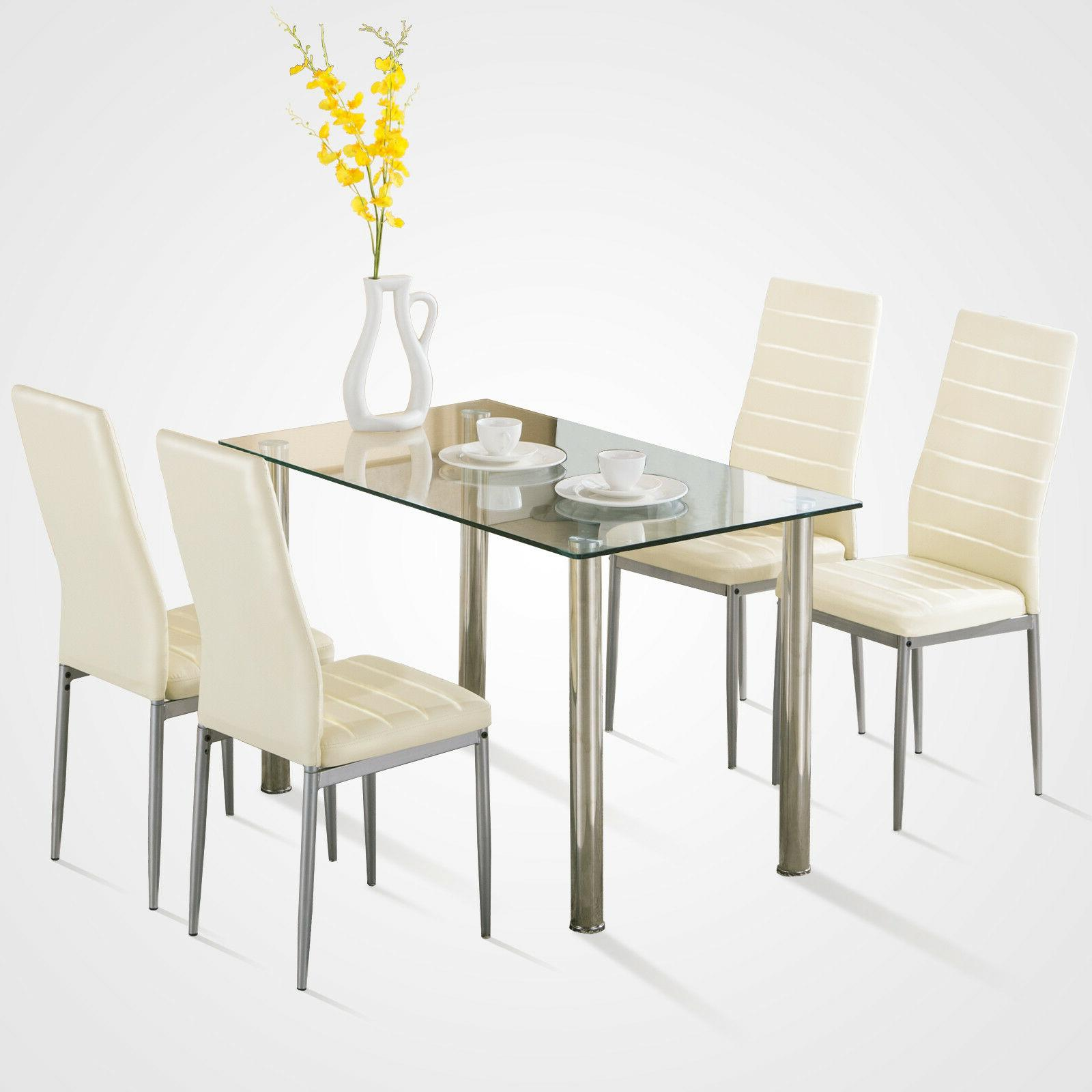 5 Pcs Dining Set Glass Metal Table And