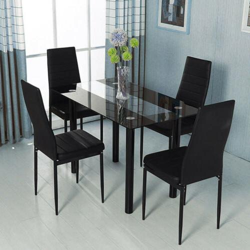 Dining Table Chairs Set Leather Kitchen Frame Furniture Black
