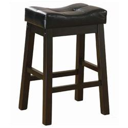 Duncan 24 Backless Barstool in Warm Brown Cherry With Black