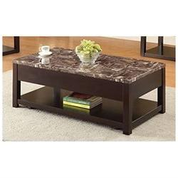 Dusty Faux Marble And Espresso Coffee Table W/Lift Top 82127