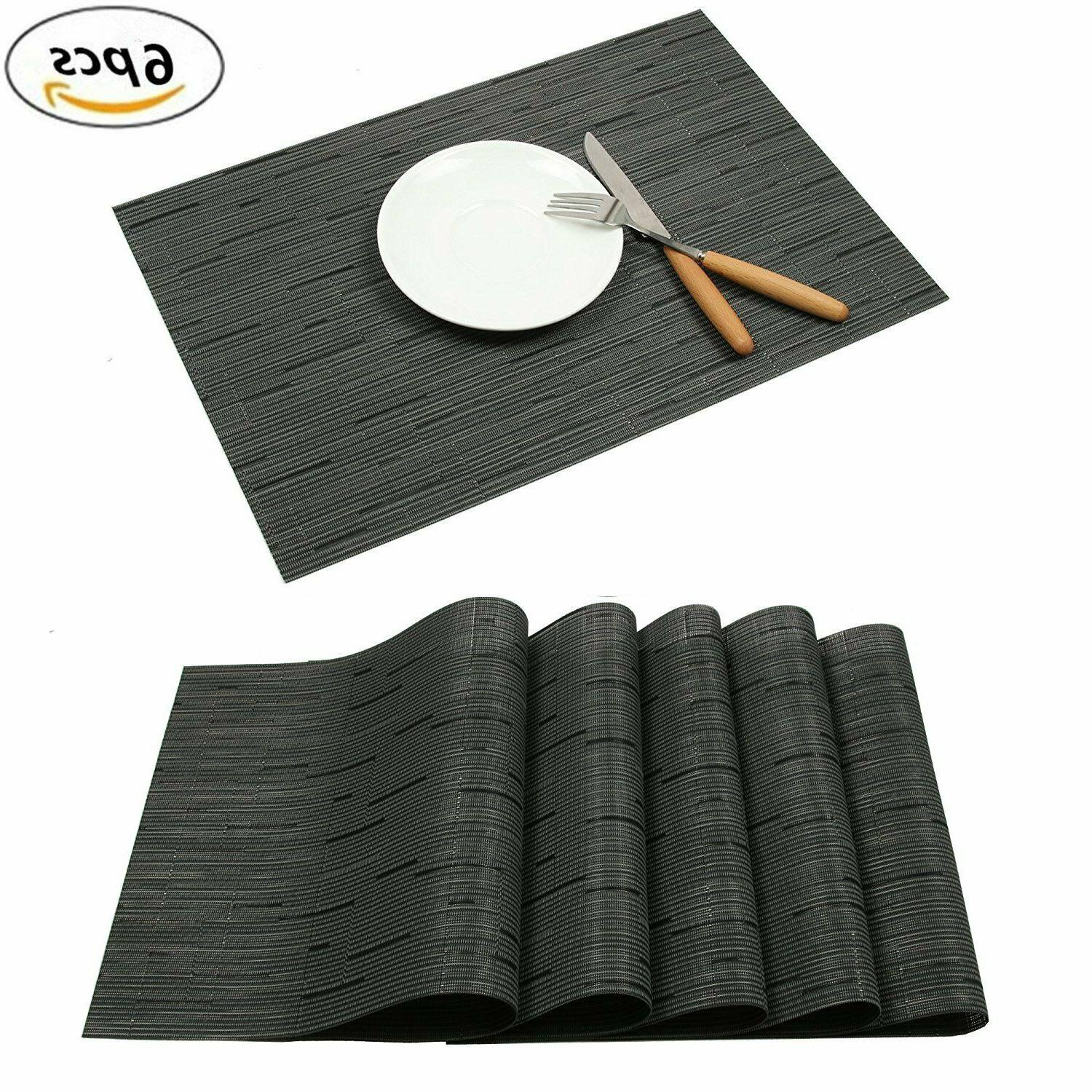 Elegant Placemats Table Vinyl Set Of 6 18""