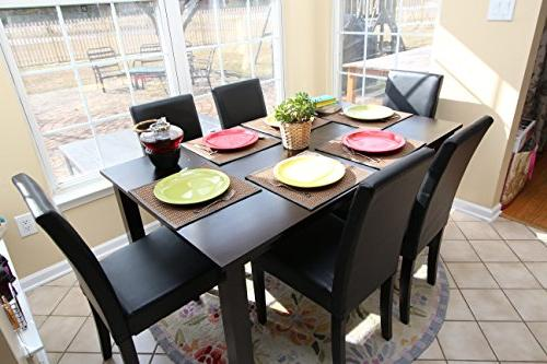 7 pc Black 6 Table and Chairs Brown Dining Dinette - Black Parson Chair