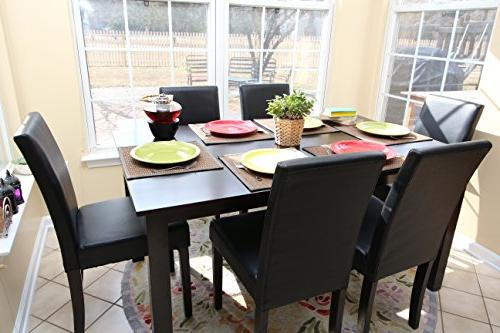 black leather 6 person table