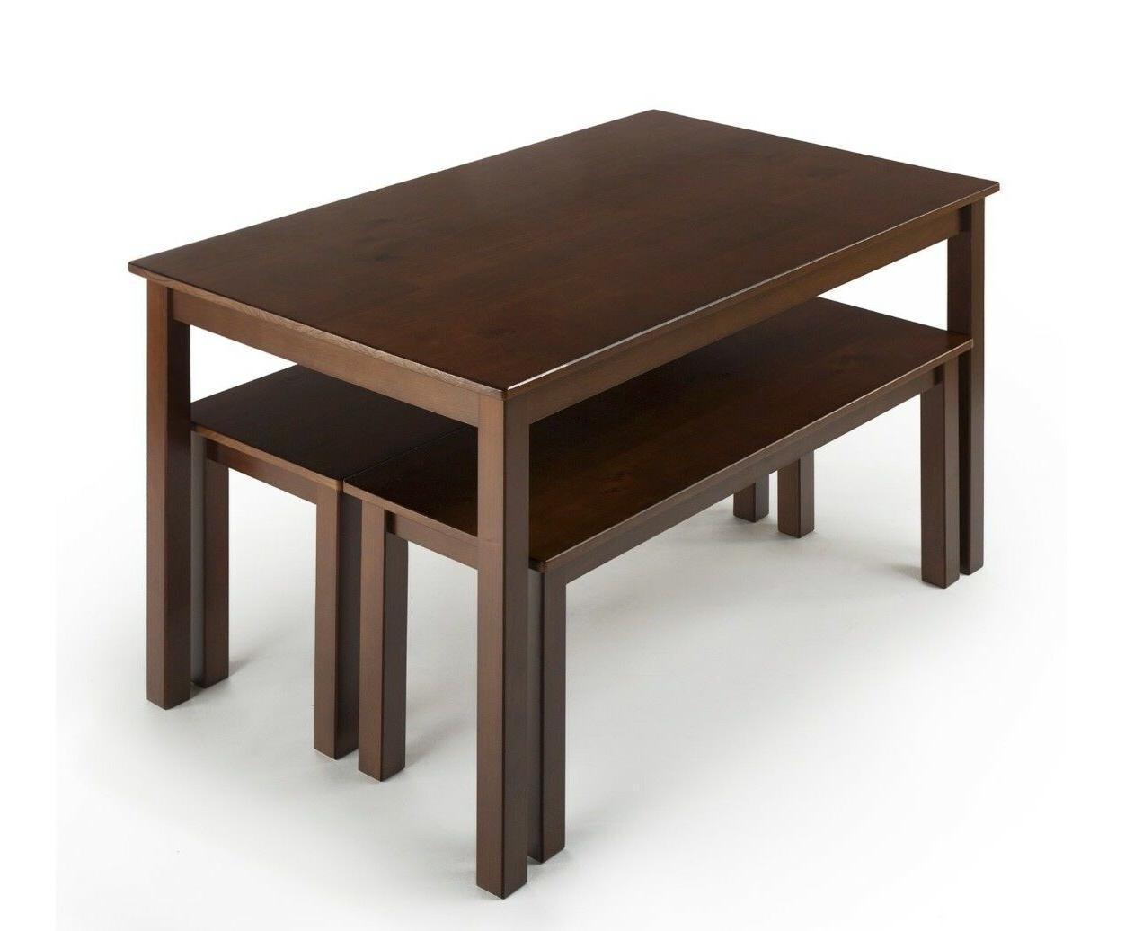 Zinus Wood Table with 2 Benches /
