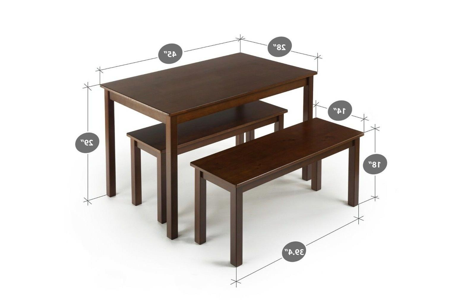 Zinus Espresso Wood Dining Table with Benches / Set