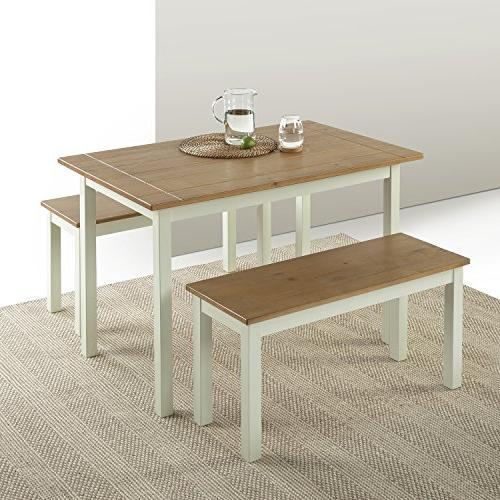 Zinus Farmhouse Dining Table with Two / 3 set