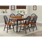 7 Piece Kitchen Dining Set Farmhouse Table 6 Chairs Solid Wo