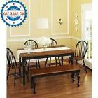 Farmhouse Dining Table for 6 Rustic Solid Hardwood Tradition