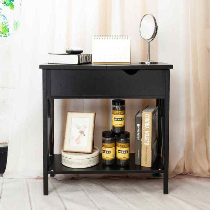 Flip Collection Table Metal Stand Side Bedroom Black