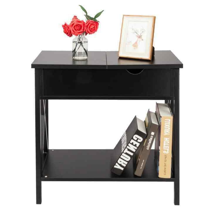 flip collection top table metal stand wood