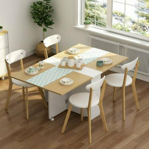 Home Folding Extendable Dining Table with Cabinets 6 Wheels