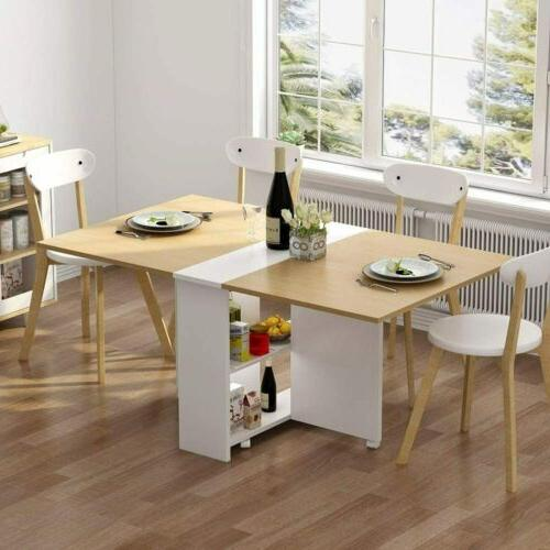 Folding Dining Table, 6 Wheels Movable Dinner Table,Home Kit