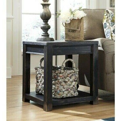 gavelston distressed black square table