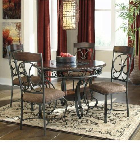 glambrey round dining table brown small