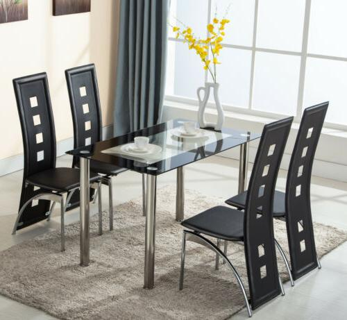 5 Piece Glass Dining Table Set 4 Leather