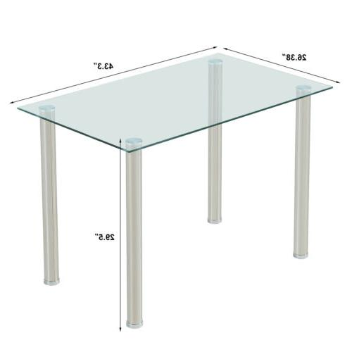 Glass Dining Table 4 Leather Breakfast Nook