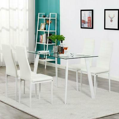 Metal 5 Piece Glass Dining Table Set 4 Chairs Furniture Kitc