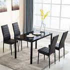 5 Piece Glass Metal Dining Table Furniture Set 4 Chairs Brea