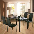 5 Piece Glass Metal Dining Table Set 4 Chairs Kitchen Room B