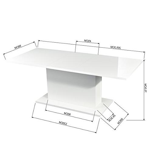 HOMY CASA High White Extendable Wood Table