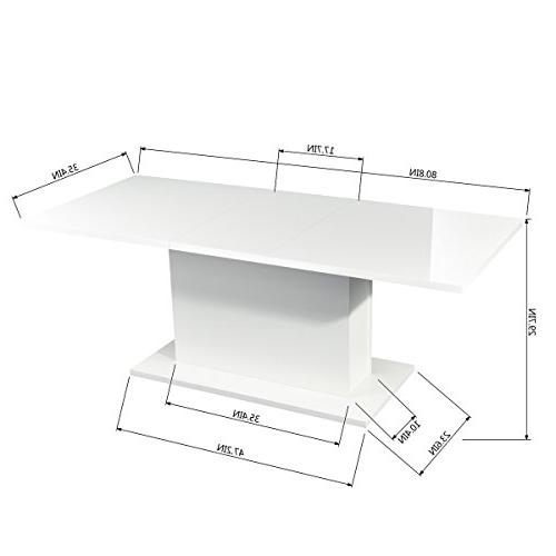 HOMY High White Extendable Rectangular Table, Mltifunction Wood