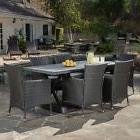 Outdoor 7-piece Grey Dining Set with Grey Cushions