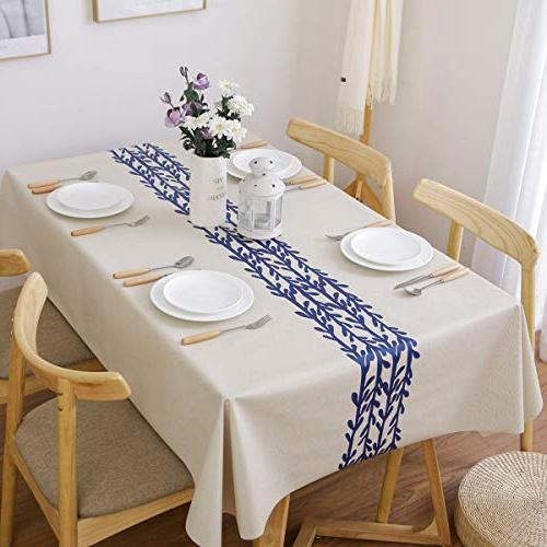 JZY Heavy Duty Table Dining Table PVC Tablecloth Rectangle