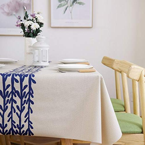 JZY Vinyl Table Cloth Dining Table Wipeable PVC Tablecloth