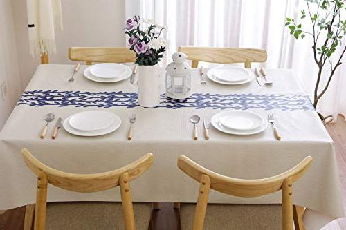 JZY Duty Vinyl Table Cloth for Kitchen Dining Tablecloth for