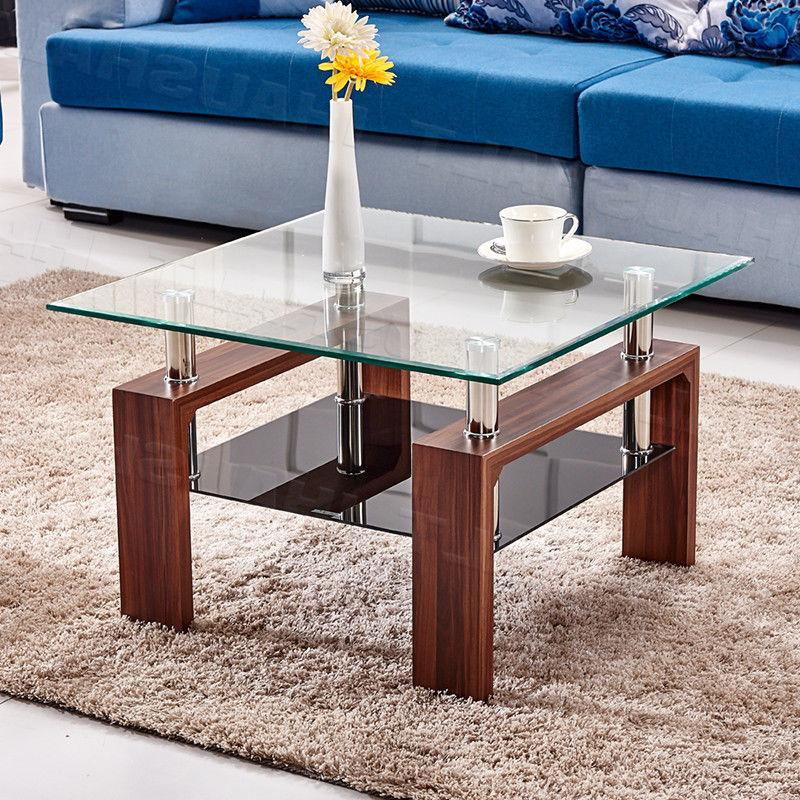 High Gloss Glass Coffee Table Brown Square Table Side End Ta