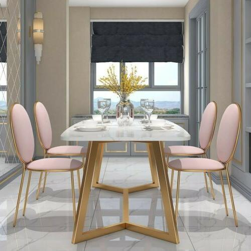 Homary 180cm Dining Table White Faux Tabletop Metal Base