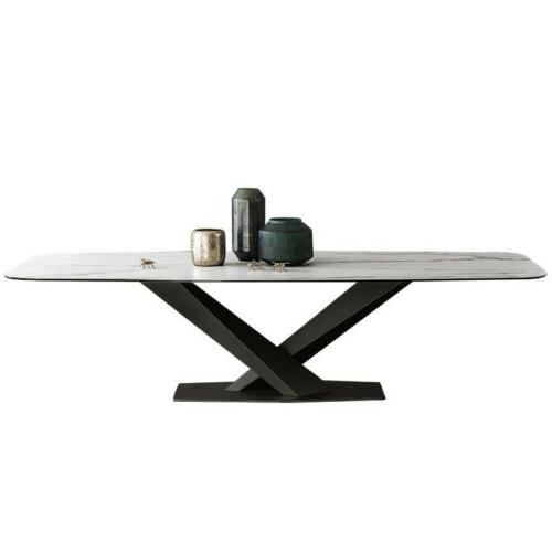 Homary 160cm White Faux Marble Top Dining Table Black Metal